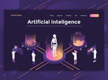 Plan modern design av websitemallen - konstgjord intelligens vektor illustrationer