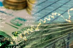 The plan of money management for investor. Double exposure of the plan of money management for investor Royalty Free Stock Photos