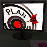 Plan On Monitor Shows Expectations Stock Photos