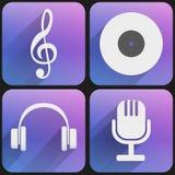 Plan musik för symbolsuppsättningljud för rengöringsduk och applikation. Arkivbilder