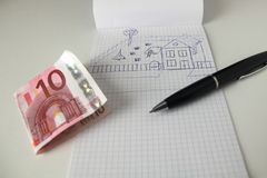 Plan for new house. Plan and sketch for new house stock photo