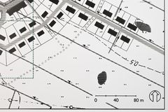 Plan of a New Urbanism Traditional coastal Village. Detailed computer generated sketch of a cadastral map of a new urbanism village, urban planning and Stock Photo