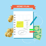 Plan Note 001. Personal finance plan note infographic theme stock illustration