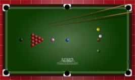 Plan objektdesignuppsättning, snookertabell och bästa sikt för utrustningar Royaltyfria Bilder