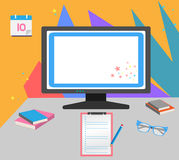 Plan och färgrik brevpapper stock illustrationer