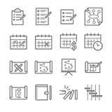 Plan- och schemasymbolsuppsättning Arkivbilder