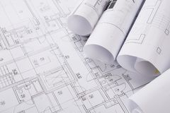 Free Plan Of Building. Architectural Project Background Stock Photos - 108324293