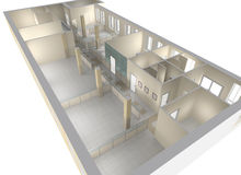 Plan of the office premises. Office premises with division on zones Stock Photography