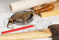 Plan with old tools Royalty Free Stock Photo