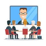 Plan online-video affärsrapport som möter T royaltyfri illustrationer