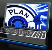 Plan op Laptop die Zorgvuldige Planning tonen Stock Afbeeldingen