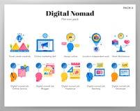 Plan packe för Digital nomadsymboler royaltyfri illustrationer