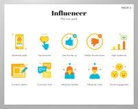 Plan packe för Influencer symboler stock illustrationer