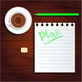 Plan on paper, cup of coffee, green pencil Royalty Free Stock Image