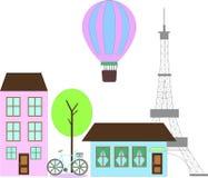 Plan Paris vektorillustration med sikt Arkivfoto