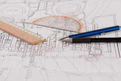 Plan with pencils and rulers Royalty Free Stock Image