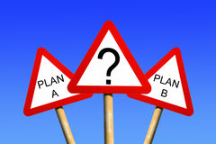 Plan A Plan B. Signs against a blue sky background depicting a business decision concept Stock Images