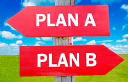 Plan A or Plan B. Plan A or B choice showing strategy change or dilemmas Stock Photos