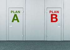 Plan A or Plan B, concept of choice Stock Images