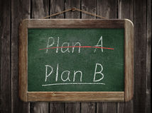 Plan A plan B concept written on blackboard Stock Photo