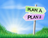 Plan A or Plan B decision sign Royalty Free Stock Photo