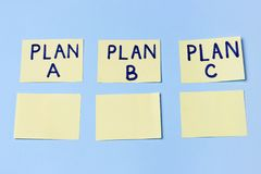 Plan A, Plan B, Plan C on multi-colored office stickers. Planning, Management, Employment, Business. concept of choice. stock photography