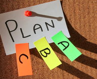 Plan a, plan b, plan c!. Sticky notes forming text - Plan a, plan b, plan c Royalty Free Stock Photo