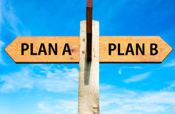 Plan A and Plan B, Right choice conceptual image Royalty Free Stock Photos