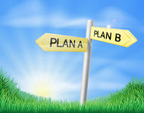 Plan A plan B sign in field Royalty Free Stock Photos