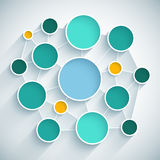 Plan plat de conception de réseau d'Infographics avec le bleu Image libre de droits