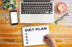 Plan plat de régime de configuration pour le concept de santé photos stock