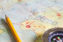 Plan podróży na mapy tła pojęciu Obrazy Stock
