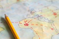 Plan podróży na mapy tła pojęciu Fotografia Royalty Free