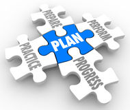Plan Practice Prepare Perform Progress Puzzle Pieces Succeed Lif. Plan word on a puzzle piece with Perform, Practice, Prepare and Progress connected to it as a Stock Photo