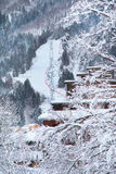 Plan Praz ski lift  near Chamonix. Plan Praz ski lift  and slope near Chamonix, France Royalty Free Stock Photos