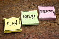 Plan, prepare, perform concept Royalty Free Stock Photos