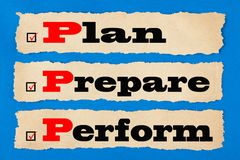 Plan Prepare Perform Concept. Plan, Prepare and Perform written on old paper on blue background. Business concept stock photos