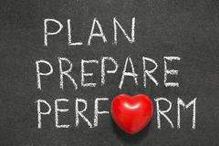 Plan,prepare and perform. Phrase handwritten on blackboard with heart symbol instead O Royalty Free Stock Photo