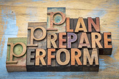 Plan, prepare, perform word abstract. Plan, prepare, perform  - motivational word abstract in vintage letterpress wood type Stock Image