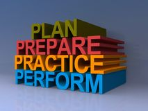 Plan, prepare, practice, perform. Colorful 3D block letters spelling plan, prepare, practice and perform on purple background Royalty Free Stock Photography