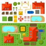 Plan of private house with garden, pool and car vector illustration Stock Photography