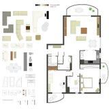 Plan projektion för vektor med möblemang Uppsättning Beståndsdelar för formgivare vektor illustrationer