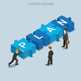 Plan puzzle piece businessman flat isometric vector 3d. Plan puzzle piece flat 3d isometry isometric business concept web vector illustration. Businessman push Royalty Free Stock Photo