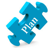 Plan Puzzle Shows Objectives Planning And Organizing Royalty Free Stock Photo