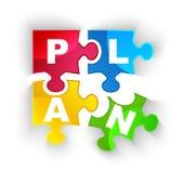 PLAN-Puzzlespielstücke mit Schatten  Lizenzfreie Stockfotos