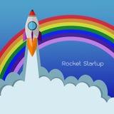 Plan raket- och regnbågesymbol Startup begrepp Royaltyfri Bild