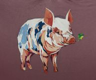 Plan rapproché acrylique de texture de peinture de bande dessinée de porc Images stock