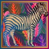 Plan rapproché africain de zèbre et feuilles tropicales rayées Copie animale illustration libre de droits