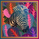 Plan rapproché africain principal de zèbre et feuilles tropicales rayées Animal illustration stock