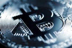 Plan rapproché argenté de Bitcoin Image libre de droits